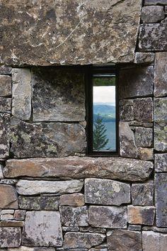 Stone Creek Camp - Bigfork, Montana, USA- Andersson Wise Architects (o) A As Architecture, Flathead Lake, Stone Creek, Stone Masonry, Rocky Shore, Dry Stone, Wood Stone, Natural Homes, Window View