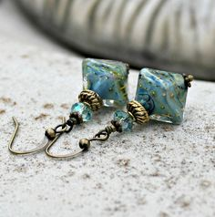 Blue Shimmer Lampwork Glass Earrings  Swarovski by LunarBelle