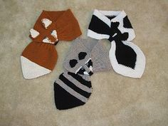 free fox, raccoon, skunk scarf pattern
