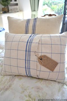 INSPIRATION:  pillows made with antique linen