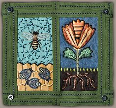 "another Renee Harris piece... ""We Need Bees"",felted wool, embroidery, paper colored pencil,  ribbon, buttons... in short beautiful!"