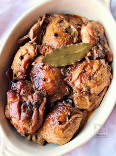 Chicken slowly braised in vinegar, soy sauce, garlic and bay leaves until fall-off-the-bone tender and DELICIOUS. This classic dish can be made a day ahead and tastes even better the next day! Slow Cooker Chicken Adobo