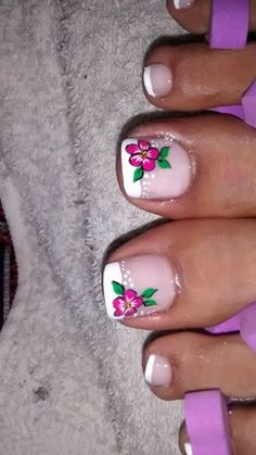 Pedicure Designs, Pedicure Nail Art, Toe Nail Designs, Toe Nail Art, Toe Nails, Manicure, New Nail Art Design, Seasonal Nails, Floral Nail Art