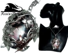 "Pendant ""Radish""with rhodonite in foliage silver in Vintage, Steampunk, Victorian. Fantasy styles jewelry"