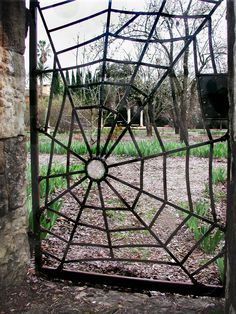 We drove past this amazing spider web iron gate near a winery in St. Helena CA.