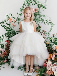 Girls Dress Style 5658 - Satin and Tulle High Low Dress In Choice of Color  Looking for something different and completely unique? This is it- this is so pretty and overall a sweet look for any event. The top bodice is made from bridal satin and has a simple classic shape that is good for all ages.  http://www.flowergirldressforless.com/mm5/merchant.mvc?Screen=PROD&Product_Code=TT_5658IV_17&Store_Code=Flower-Girl&Category_Code=White