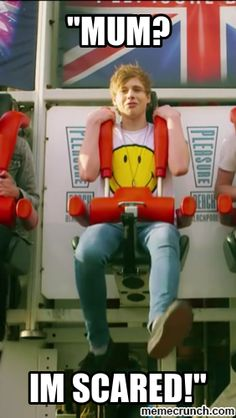 Paused the video and this was Luke's face<< Aw! Honestly, that's how I would be haha I can't do those shot up rides.