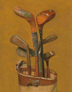 "Golf Clubs Women Daily Paintworks - ""Vintage Golf Clubs"" - Original Fine Art for Sale - © Susan Fern Kids Golf Clubs, New Golf Clubs, Golf 2, Play Golf, Play Tennis, Golf Ball, Vintage Golf Clubs, Golf Player, Golfers"