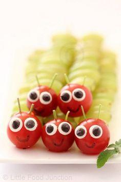 grape caterpillars | 25+ Cute & Healthy Snacks