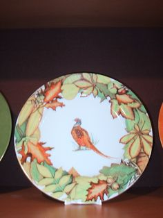 dinner plate, autumn leaves, pheasant bird, Limoges porcelain