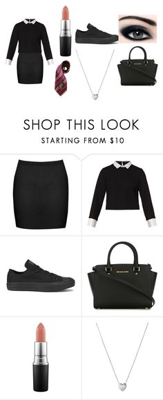 """School uniform"" by hollieh14 on Polyvore featuring Boohoo, Maje, Converse, MICHAEL Michael Kors, MAC Cosmetics, Elope and Links of London"