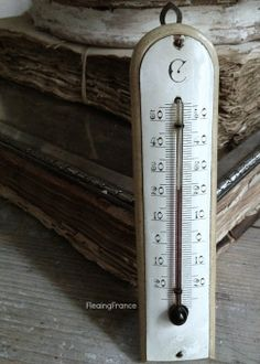 FleaingFrance....Antique Enamel Thermometer now in the shop