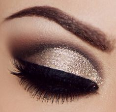 Natural bronze smokey eye make up brown eyes - love the glitter on the lid!