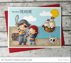 Party Like a Pirate stamp set and Die-namics, Beach Scene Builder Die-namics, Cloud 9 Die-namics - Jodi Collins #mftstamps