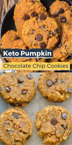 These Keto Pumpkin Chocolate Chip Cookies come to about one net carb each! The ultimate low carb Fall dessert! #keto #lowcarb #cookies #pumpkin Holiday Cookie Recipes, Best Cookie Recipes, Low Carb Recipes, Sugar Free Recipes, Cheesecake Desserts, Dessert Recipes, Breakfast Recipes, Recipes Dinner, Healthy Desserts