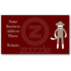 Cute Sock Monkey on Red with Stripes Business Cards