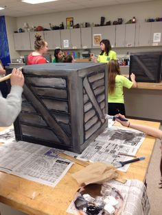 Creating wooden crates for Annie Middle school musical