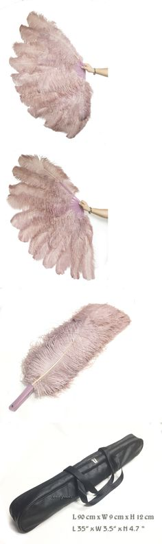 Fans and Parasols 175645: Beige Wood Xl 2 Layers Ostrich Feather Fan 34 X 60 With Leather Travel Bag -> BUY IT NOW ONLY: $138 on eBay!