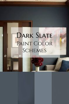 Dark Slate (blue gray) Paint Color Schemes and exact matches to popular brands. I love this moody dark slate paint in this family room Slate Blue Bedrooms, Slate Blue Walls, Blue Gray Bedroom, Blue Accent Walls, Accent Wall Colors, Blue Gray Paint Colors, Grey Wall Color, Bluish Gray Paint, Color Blue