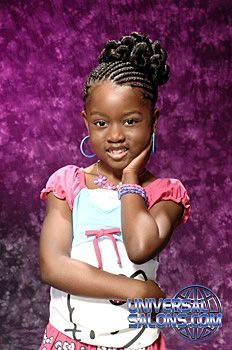Black Hair Salons, Styles and Models - Universal Salon Lil Girl Hairstyles, Natural Hairstyles For Kids, Kids Braided Hairstyles, Natural Hair Styles, Braided Updo, Little Girl Braids, Braids For Kids, Girls Braids, Kid Braids