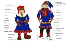 Traditional Finnish Folk clothing and its influence on fashion- Gakti An infographic explaining the elements of Gakti, the native Saami costume. Swedish Girls, Folk Clothing, Lappland, Camping Crafts, Reno, Traditional Dresses, Traditional Fashion, Scandinavian, Clip Art