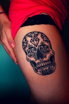 Skull Tattoos For Girls | tattoo # thigh tattoo # thigh piece # sugar skull
