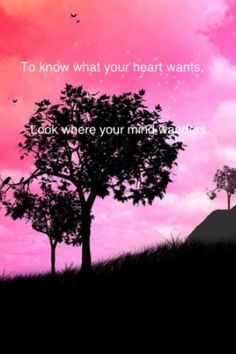 To know what your heart wants, look where your mind wanders.