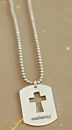 First Communion Gift:  Personalized Cross Necklace with Hand Cut Dog Tag Necklace by Designed to Shine ACC @ Etsy