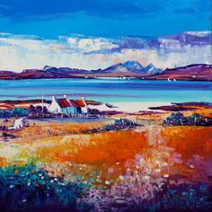 'Ord Bay, Sleat' by Jean Feeney (was born In York of Scottish~Welsh parents, Jean moved to Scotland in Lives in rural Perthshire). Watercolor Art Paintings, Abstract Landscape Painting, Paintings I Love, Landscape Art, Landscape Paintings, Acrylic Painting For Beginners, Mountain Paintings, Pictures To Paint, African Art