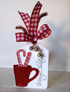 25 Days of Christmas Tags hot chocolate and jingle bells | PTI Candy Cane Christmas Stamp Set; Papertrey Ink - Tag Sale #10 Die; sentiment is from Stampabilities HL