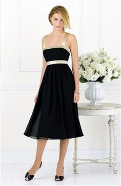 Chiffon Square Neckline Tea Length Bridesmaid Dress Style Code: 14012 $141 Order here: http://www.outerinner.com/chiffon-square-neckline-tea-length-bridesmaid-dress-pd-14012-0.html