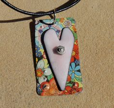 valentine enamel heart pendant recycled tin by MyArtisticOutlet, $28.00