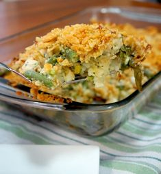 chicken and green bean casserole piece. Easy green bean chicken casserole recipe.