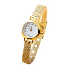 Fashion Women Lady Golden Small Dial Table Fine Steel Band Quartz Bracelet Wrist Watch