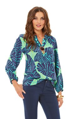 Elsa Top - Under The Palms in New Green for FALL @ $158 E-mail Robin@ShoptheBeachlife.com