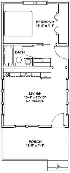 16x30 Tiny House -- #16X30H5 -- 480 sq ft - Excellent Floor Plans