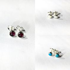 New studs up for sale soon 😊 garnet, opal and turquoise