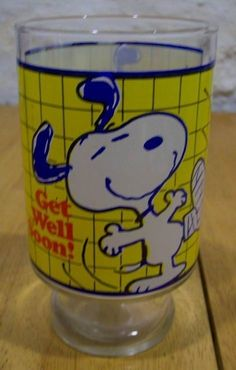 BIG! VINTAGE PEANUTS SNOOPY GET WELL SOON  DRINKING GLASS CUP Flower Vase