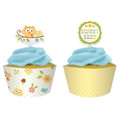 Happi Tree Owl Baby Shower Cupcake Wrappers