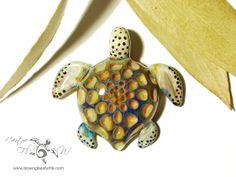 Blue Treasure Honeycomb Turtle  Glass Art by CreativeFlowGlass, $68.20