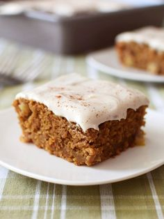 Pumpkin Apple Pie Cake with Dairy-Free Cream Cheese Frosting Recipe - this delightful autumn snack cake is amazingly gluten-free, vegan and free of top allergens! It's even made with wholesome ancient grains.