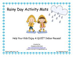 Rainy Day Activity Mats FREE!!! Print on cardstock, laminate and use over and over.