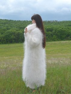 Woman's fuzzy mohair sweaterdress