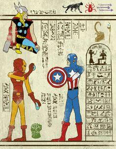 des super heros sur des parchemins egyptiens 1   Des super héros sur des parchemins egyptiens   wolverine thor spiderman pop culture photo p...