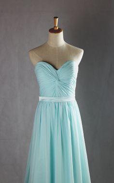 Strapless Sweetheart Blue Bridesmaid Dress  Long by Mondora, $118.00