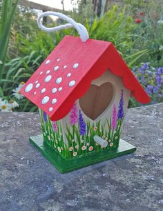 Hand Painted Hanging Mini Birdhouse Ornament  by DebsOliverArt