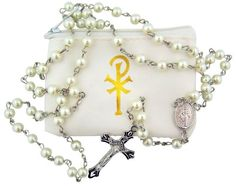 Catholic Girls First Communion Gift 6MM White Faux Pearl Bead Silver Tone Miraculous Mary Medal Center 20 Inch Rosary Necklace with Gold Chi Rho Cross Design White Vinyl Zipper Case >> ADDITIONAL DETAILS @: http://splendidjewelry4u.com/catholic-girls-first-communion-gift-6mm-white-faux-pearl-bead-silver-tone-miraculous-mary-medal-center-20-inch-rosary-necklace-with-gold-chi-rho-cross-design-white-vinyl-zipper-case/