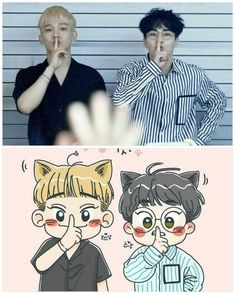 Exo Ot12, Exo Xiumin, Kpop Exo, Chanbaek, Exo Cartoon, Chibi, Exo Anime, Exo Couple, Exo Fan Art