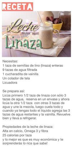 Leche de linaza Healthy Juices, Healthy Smoothies, Healthy Drinks, Healthy Snacks, Healthy Eating, Raw Food Recipes, Veggie Recipes, Healthy Recipes, Vegan Milk