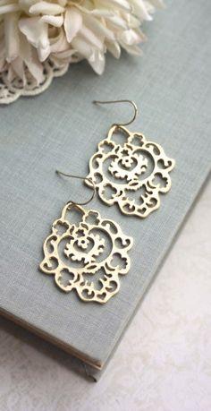 Gold Moroccan Gypsy Filigree Chandelier Earrings. Bridesmaid Gifts. Boho Summer Wedding. Gift for Best Friends. By Marolsha.